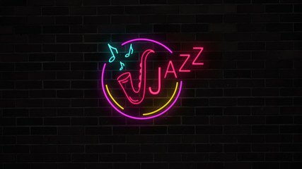 Neon jazz sign with saxophone and notesglows and lights on brick wall. Night music bar cafe for party. Retro electric luminous signboard.
