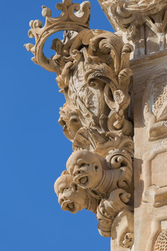 Architectural details of Palazzo Beneventano in Scicli