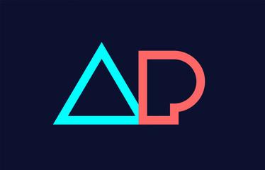 blue orange pastel alphabet letter logo combination design