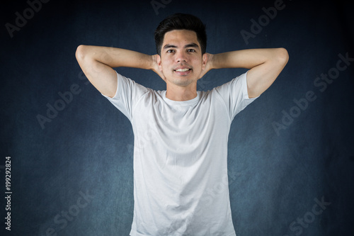 a0223fdc5 Portrait Handsome young asia man wearing a white shirt doing smile and  happiness isolated on black background. Businessman concept. Asia people.