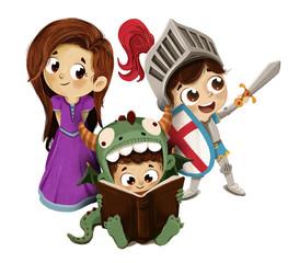 Sant Jordi, princesa caballero y dragón infantil