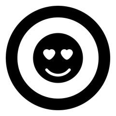 Smile icon black color in circle