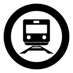 Train icon black color in circle