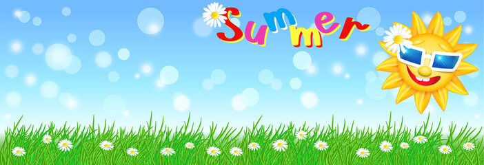 Funny sun with sunglasses and meadow flowers