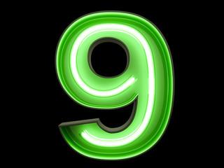 Neon green light digit alphabet character 9 nine font