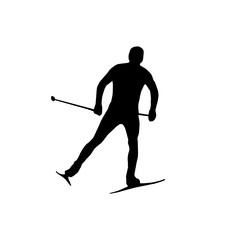 Silhouette Skier athlete isolated on white background black icon