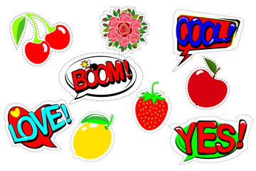 Set patch comic badges. Hand drawn vector cartoon funny pop art stickers. Modern doodle sketch and inscriptions. Isolated on white background. Vector