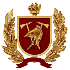 3d illustration. Emblem of firefighters. Golden helmet, axes, red shield, torch, olive branches. 3D modeling