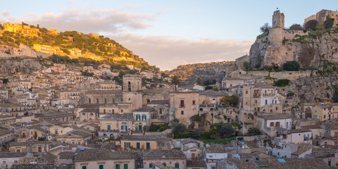 View of the picturesque Sicilian town of Modica