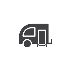 Travel Trailer vector icon. filled flat sign for mobile concept and web design. Caravan simple solid icon. Symbol, logo illustration. Pixel perfect vector graphics