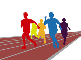 group of colorful man race running on track