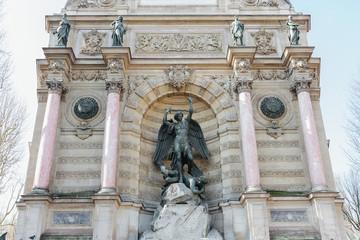Saint-Michel fountain in Paris, France
