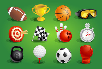 Sport objects symbols and icons set