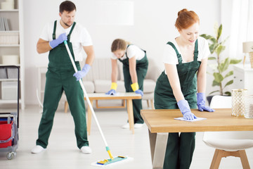 Dusting women and moping man