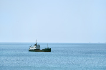A ship in the sea to deepen the seabed. Ship for removal of soil