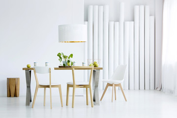 Decorative tubes in dining room