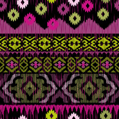 Ethnic seamless pattern. Tribal stripe design. Endless texture in black, pink, olive colors. Beautiful ethnic print perfect for home decor, wallpaper, fashion and bedding. Abstract background.