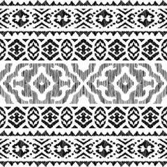 Ethnic seamless pattern. Tribal stripe illustration. Endless texture in black and white colors. Beautiful ethnic print perfect for home decor, wallpaper design, fashion, bedding. Abstract background.