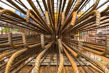 Steel bar fixing at the construction site, Perspective rustic rebar for reinforc and foundation