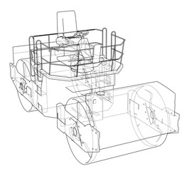 Asphalt compactor outlined vector