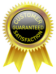 Customer satisfaction guaranteed gold badge in black background