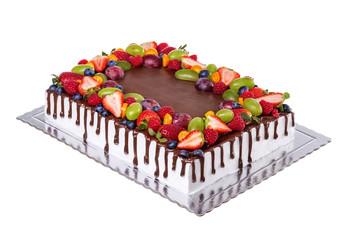 Fruit chocolate square birthday cake. On a white background