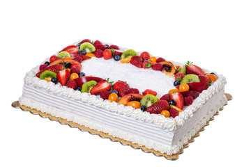 Fruit cream birthday cake. On a white background