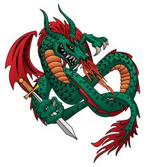 Flying fire breathing dragon vector illustration