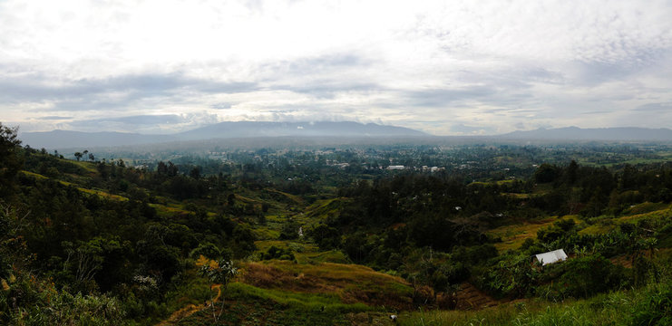 Aerial panoramic view to Mount Hagen city, Papua New Guinea