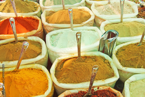 Spices India  Spices are sold on the market in India  Red