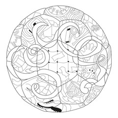 Zentangle stylized soccer ball. Hand Drawn lace vector illustration