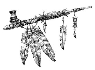 Pipe of peace drawing. Ceremonial Native American pipe