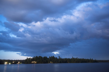 Clouds over a lake, Kenora, Lake of the Woods, Ontario, Canada