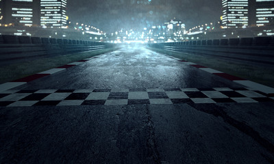 Zelfklevend Fotobehang Motorsport Rennstrecke im Regen
