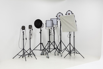 Empty Professional Photography Studio Equipment, Tools and White Background