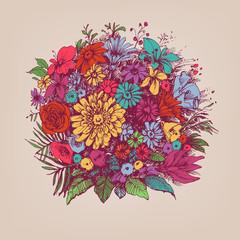 Fototapete - Floral bouquet. Round floral arrangement or floral frame