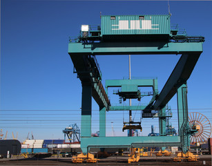 Crane for sea containers in the harbor of Rotterdam, The Netherlands.