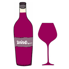 Red wine bottle with wine glass. Hand drawn vector sketch.