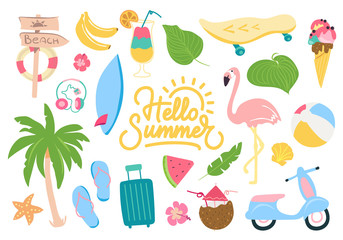 Cute summer illustrations set. Eps10 vector.