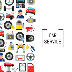 Vector background with flat style car service elements and place for text