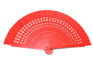 Continental Red Hand Fan on White Background