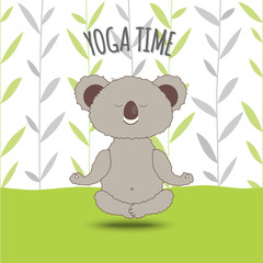 Cartoon koala soar in lotus pose on bamboo background. Koala bear Doing Lotus Asana in Yoga. Cute and cozy Vector Illustration, Eps 10.