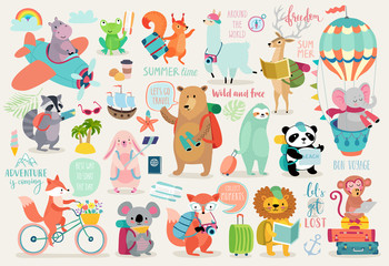 Wall Mural - Travel Animals hand drawn style, Calligraphy and other elements.