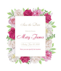 Wedding invitation cards with roses and peonies.Beautiful white and red roses, pink and white peonies. (Use for Boarding Pass, invitations, thank you card.)  EPS 10