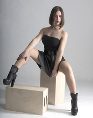 Young woman, casual fashion, studio