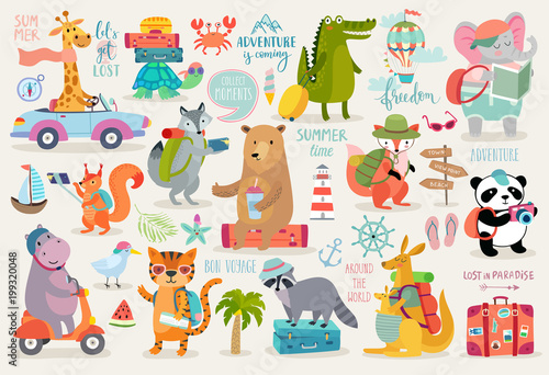 Wall mural Travel Animals hand drawn style, Calligraphy and other elements.