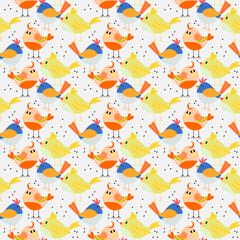 Seamless pattern vector of vivid lovely tiny birds.
