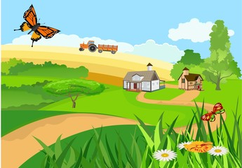 Vector illustration of countryside among the green hills single houses in pretty landscape, tractor on fields, butterflies flying