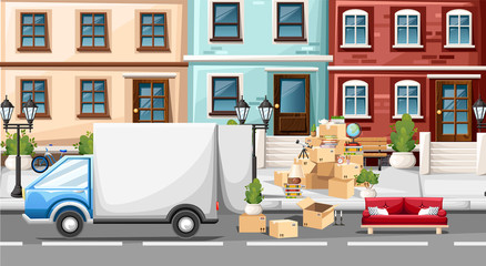 Stack of boxes wiht transport vehicle. Cardboard boxes with objects. Moving house concept. Vector illustration on street background. Web site page and mobile app design
