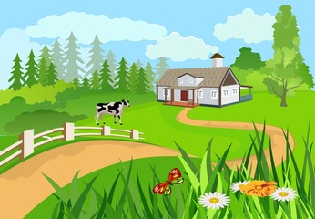 Vector illustration of a countryside among the green hills